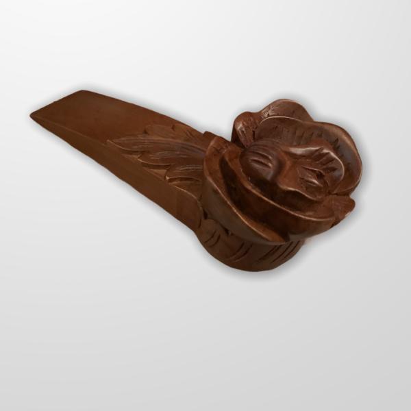 Carved Floral Teak Wood Door Stopper