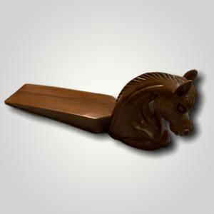 Carved Horse Teak Wood Door Stopper