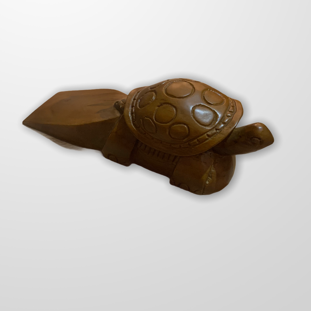Carved Turtle Teak Wood Door Stopper