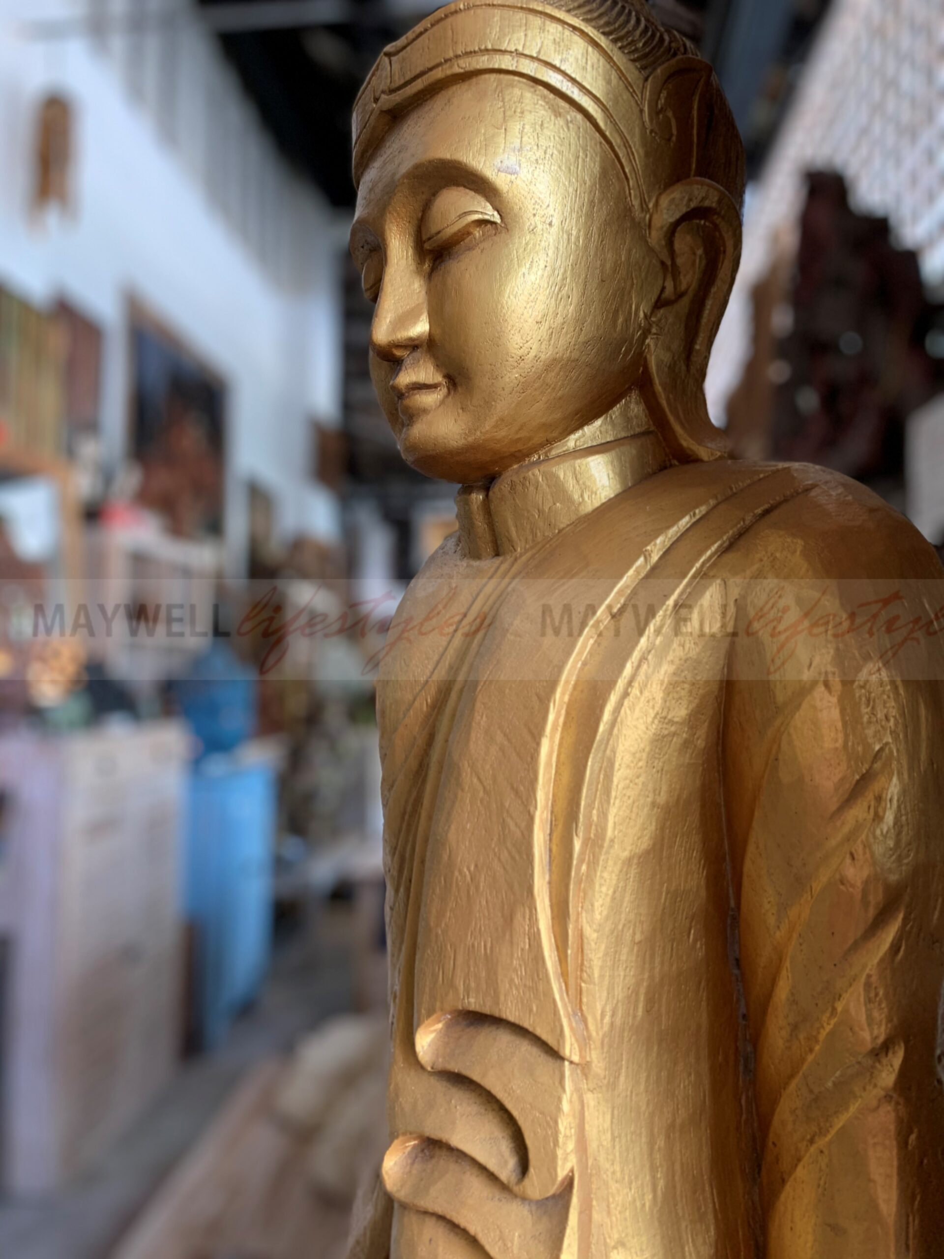 Burmese Standing Buddha Gold