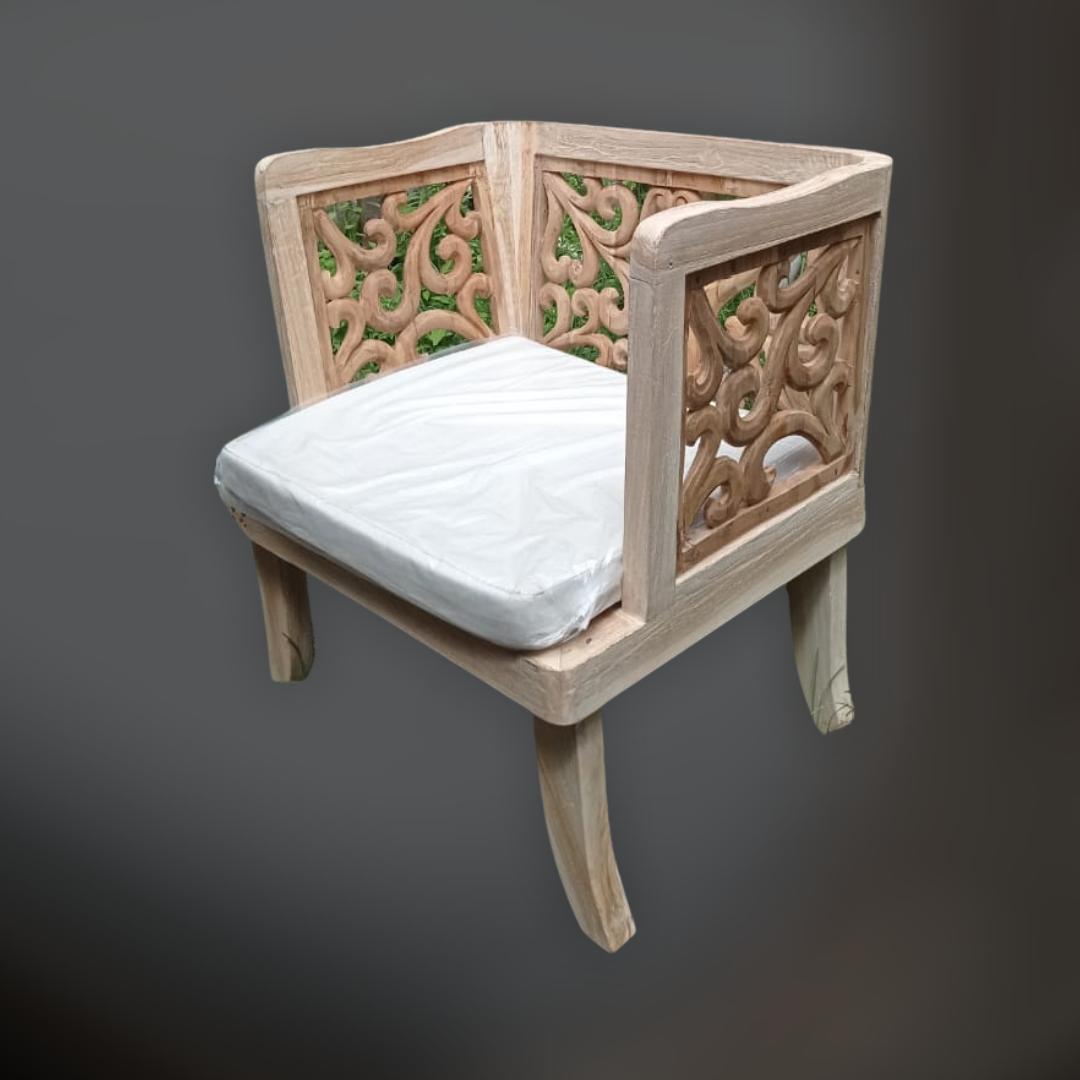 Teak wood carving armchair